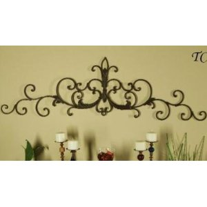 Wrought Iron Tuscan Scroll Wall Grille Door Topper Pediment Swag Grill